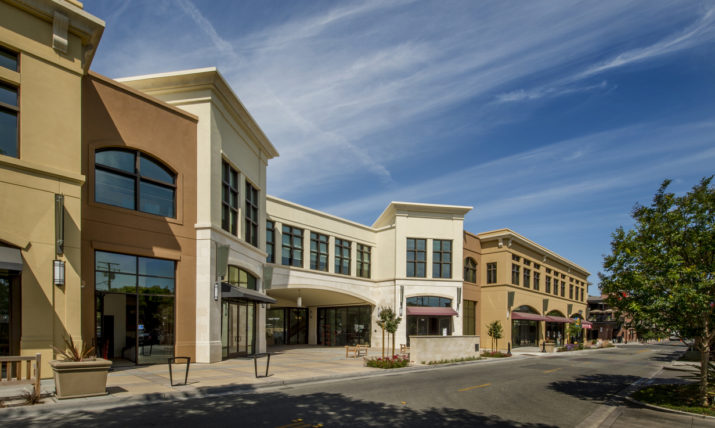 New commercial buildings in an upscale shopping district, California.