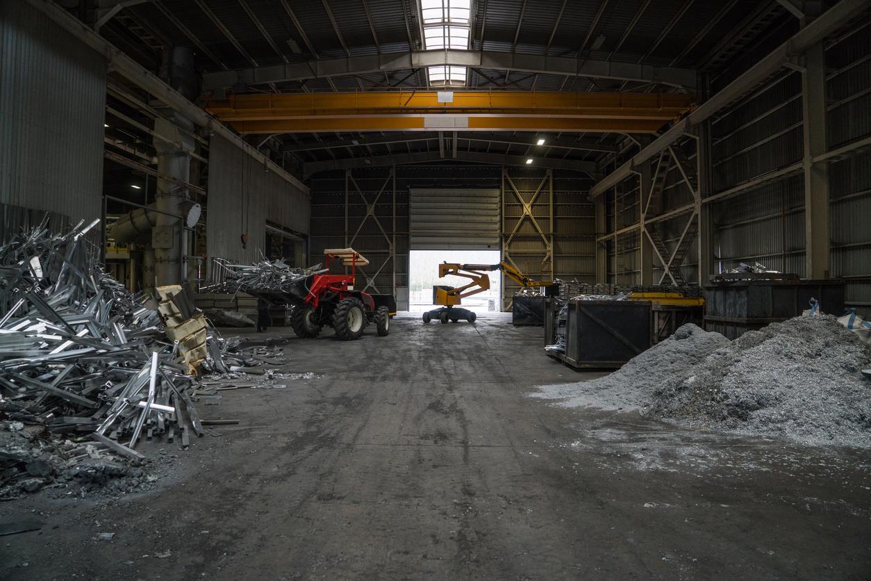 Heap of aluminium parts in scrap yard